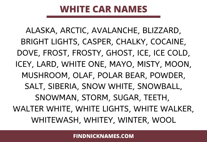 White Car Names