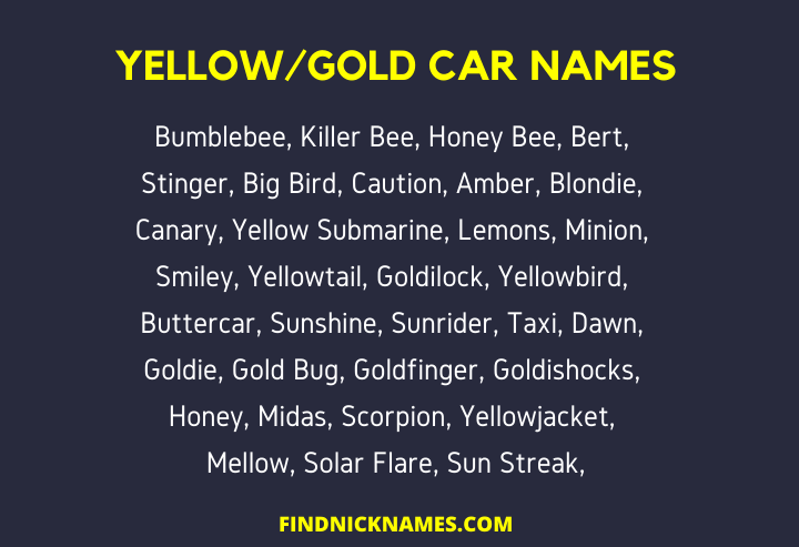Yellow car names